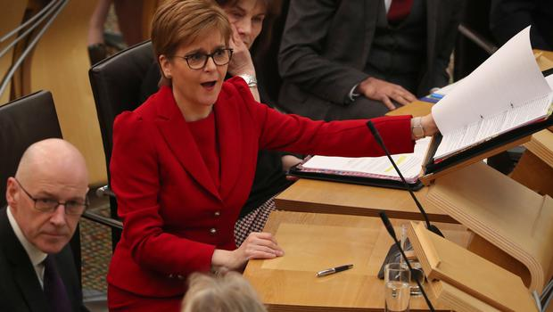 First Minister Nicola Sturgeon in the debating chamber during FMQs (Andrew Milligan/PA)