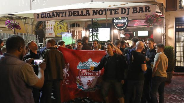 Liverpool FC fans fans in a bar in Campo de' Fiori, Rome ahead of the Champions League match (Steve Parsons/PA)
