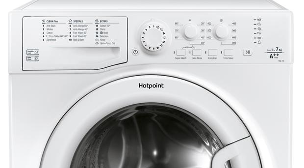 Undated handout photo issued by Whirlpool Corporation of a Hotpoint washing machine model, as the corporation is alerting customers to a potential fire safety risk concerning certain models of Hotpoint and Indesit washing machines as it prepares to launch a product recall.