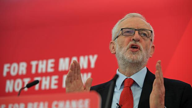 Jeremy Corbyn launches Labour's plans for free broadband at a campaign event in Lancaster (Peter Byrne/PA)