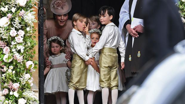 One of the pageboys at Pippa's wedding appears to misbehave (Justin Tallis/PA)