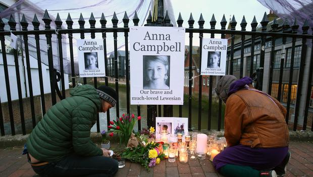 People attend a vigil honouring Anna Campbell in her home town of Lewes, East Sussex (Gareth Fuller/PA)