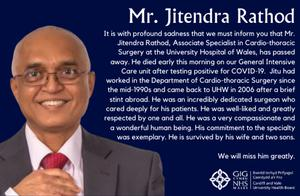 The tribute posted on the Cardiff and Vale University Health Board website to Jitendra Rathod (Cardiff and Vale University Health Board/PA).
