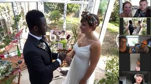 Amy Dickenson and Lloyd Dias had a 'promise ceremony' over Zoom (Church of Scotland/PA)