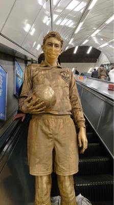 Mr Talbot was provided with a gold-painted face mask for public transport (Willem Van Aswegen)