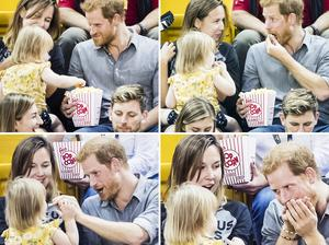 Prince Harry with Emily Henson and mother Hayley at the Invictus Games (Danny Lawson/PA )