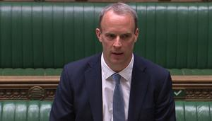 Foreign Secretary Dominic Raab announced the decision on Hong Kong to MPs on Monday (Commons/PA)