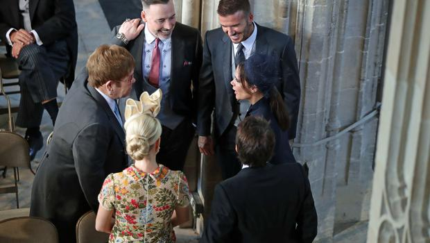 David and Victoria Beckham chat to Sir Elton John and David Furnish, and Sofia Wellesley and James Blunt, ahead of the ceremony (Danny Lawson/PA)