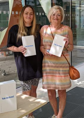 Mary Harvey and Faye Stapleton have helped raise more than £6,000 to buy electronic tablet devices (University Hospitals Bristol NHS Foundation/PA)