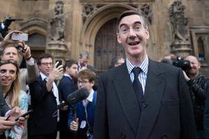 Conservative MP Jacob Rees-Mogg speaking outside the Houses of Parliament after handing in his letter of no confidence to Sir Graham Brady (Stefan Rousseau/PA)