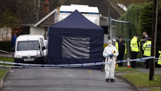 The scene in Fetcham, Surrey, where the couple were found