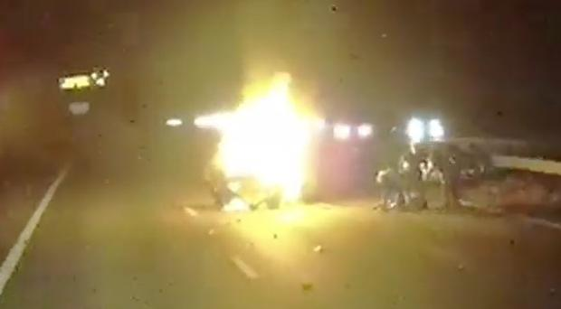 Pari Mistry's car collided with another vehicle and burst into flames on the M1 (East Midlands Ambulance Service/PA)