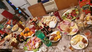 The party attended by 25 people included a large spread of food (Derbyshire Police/PA)