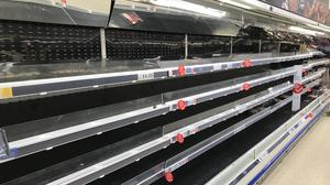 Empty shelves in a Tesco Extra in Worthing, West Sussex (Michael Drummond/PA)