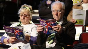 Delegates attend the UKIP Spring Conference in Llandudno, North Wales.