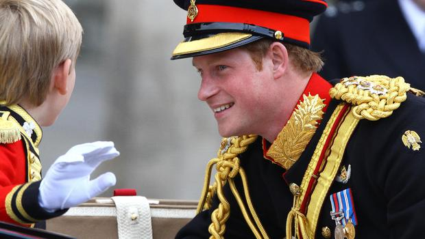 Clean shaven Prince Harry on William and Kate's wedding day (Gareth Fuller/PA)