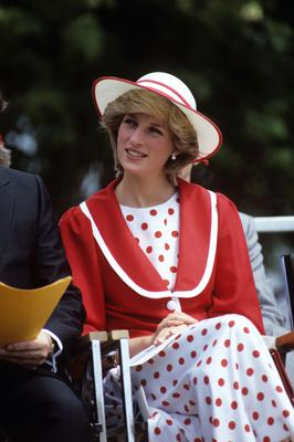The Princess of Wales in red and white while on a tour of Canada in 1983 (Ron Bell/PA)