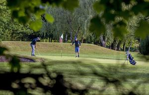 Golfers at Allerton Manor in Liverpool as golf courses are allowed to reopen (Peter Byrne/PA)