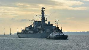 HMS Lancaster sailing back to Portsmouth Naval Base after shadowing and gathering intelligence on Russian warships travelling around the UK.