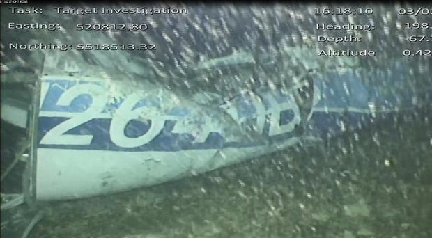 Still from handout video issued by the Air Accidents Investigation Branch showing the rear left side of the fuselage (AAIB/PA)