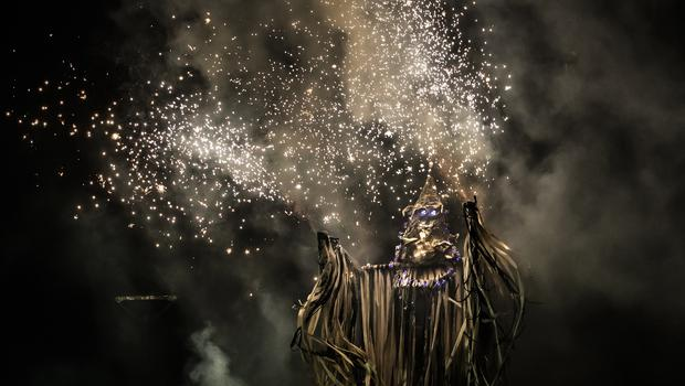 A fire artist depicting Jack Frost during the Marsden Imbolc Fire Festival (Danny Lawson/PA)