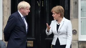 Nicola Sturgeon criticised 'absurd and ridiculous' comments from Prime Minister Boris Johnson (Jane Barlow/PA)