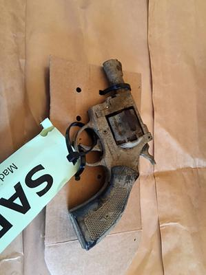 A handgun found in woodland near Warkton, Northamptonshire, which was uncovered during the search for Sarah Benford (Northamptonshire Police/PA)