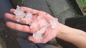 Hail stones the size of £2 coins fell in Sheffield on Friday evening (Twitter user @myla_labrador/PA)