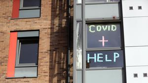 A sign in the window of the student accommodation at Nottingham Trent University in Nottingham (PA)