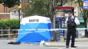 A police tent at the scene in Askew Road, Shepherd's Bush, west London (Aaron Chown/PA)