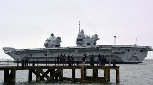 HMS Prince of Wales leaving Portsmouth Naval Base for the first time heading for a visit to her affiliated city of Liverpool (Ben Mitchell/PA)