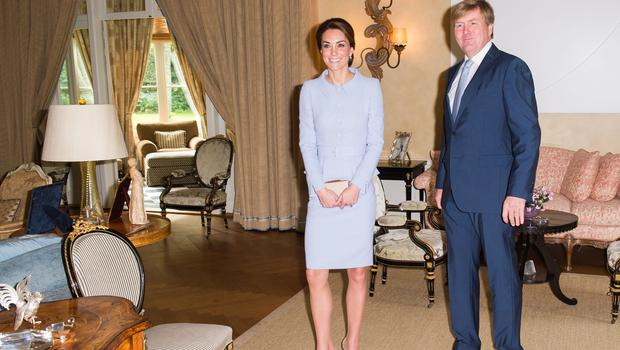 The Duchess of Cambridge meets King Willem Alexander of the Netherlands at Villa Eikenhorst in The Hague, Netherlands (Samir Hussein/PA)