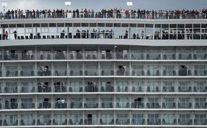 Arron Hough, 20, went missing from the MS Harmony of the Seas, owned by Royal Caribbean, which is pictured leaving Southampton in 2016 (Andrew Matthews/PA)