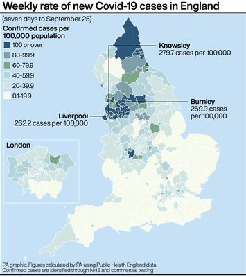 Weekly rate of new Covid-19 cases in England (PA Graphics)