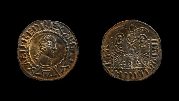 "One of the Two Emperor coins, bearing King ALfred's head as ""Alfred Rex Anglo"". (British Museum/PA)"