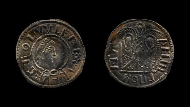 One of the Two Emperors coins recovered, with King Ceonwulf II, marking his alliance with King Alfred against the Vikings. (British Museum/PA)