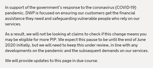 A message to PIP claimants explaining the delay in the review (PA)
