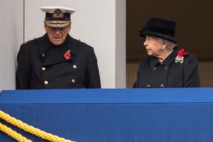 File photo dated 12/11/17 of Queen Elizabeth II looking at her husband the Duke of Edinburgh overlooking the annual Remembrance Day Service/PA)