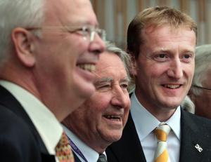 Tavish Scott (right) with former Scottish party leader Lord Wallace (left) and former Presiding Officer Lord Steel (David Cheskin/PA)