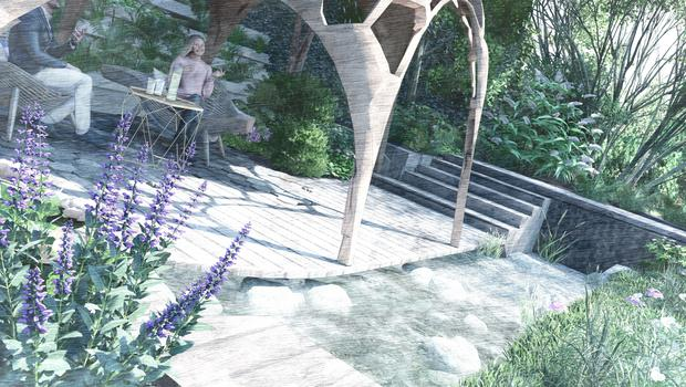 The Facebook garden by Joe Perkins focuses on trees and timber (I-Echo Visualisation/PA)