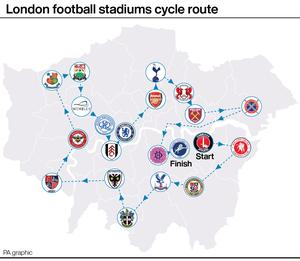 The 21-stadium route is estimated to take between 11 and 12 hours (PA Graphics)