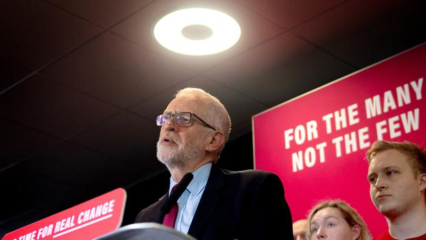 Jeremy Corbyn makes a speech setting out the party's environment policies at Southampton Football Club (Joe Giddens/PA)