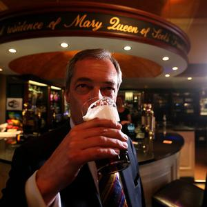 Earlier, he had enjoyed a pint as he promoted his party's candidate in an upcoming Scottish by-election