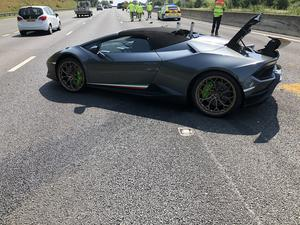 The Lamborghini was just 20 minutes into its first trip when the incident occurred (WYP Roads Policing Unit/PA)