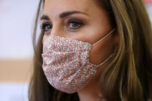 Kate picked a floral mask to wear for the charity visit (Chris Jackson/PA)