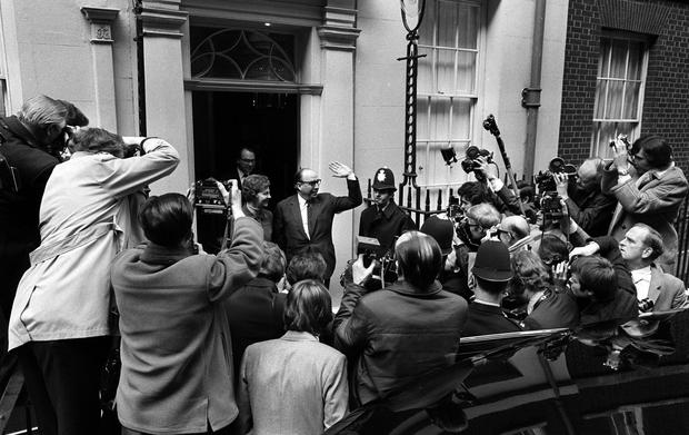 Roy Jenkins greets the press before delivering his Budget speech in April 1970 (PA)