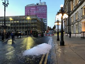 Ice outside Glasgow City Chambers at George Square (Douglas Barrie/PA)