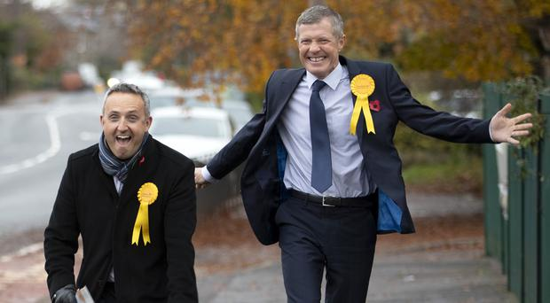 Scottish Liberal Democrat leader Willie Rennie (right) insists his party is 'on the rise' (Jane Barlow/PA)