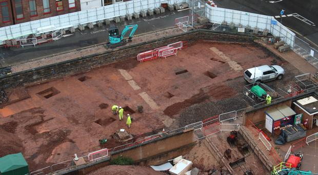 The remains of a Roman fort which have been discovered during excavation work at the site of Exeter Bus Station (Exeter City Council/PA)