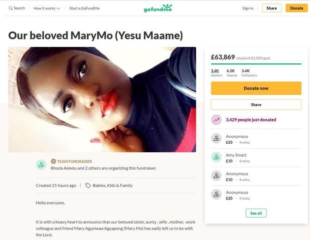 Mary Agyeiwaa Agyapong was pregnant when she died from Covid-19 (GoFundMe/PA)
